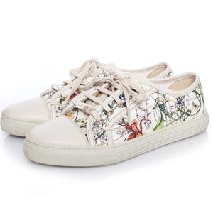 Gucci White Floral Canvas Low-Top Sneakers Size 10